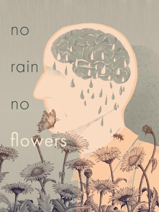 No rain, no flowers Self-Adhesive Wall Mural - Motivations