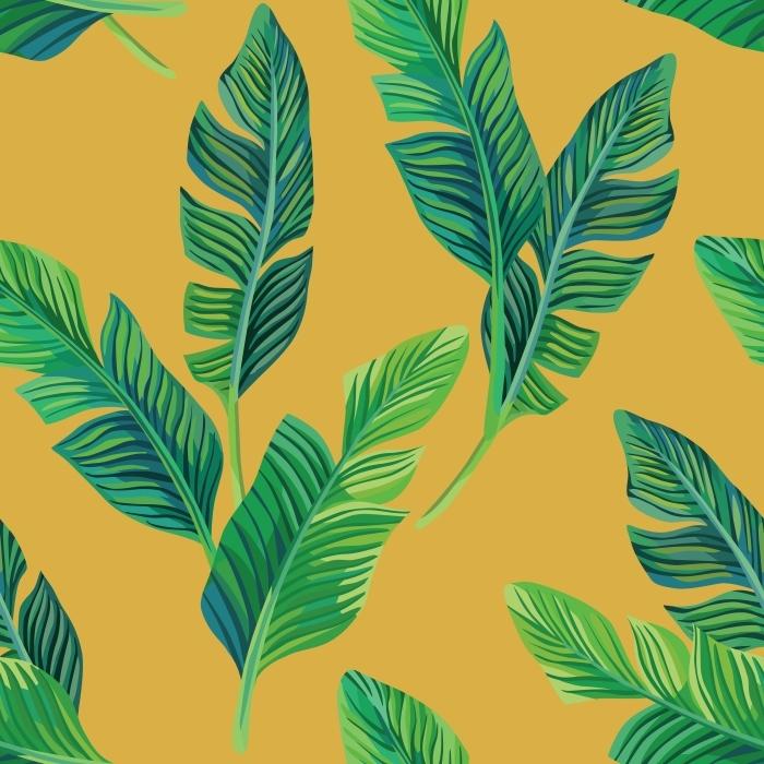 Pixerstick Sticker bananenbladeren naadloze achtergrond -