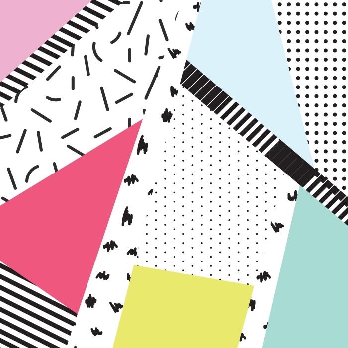 Papier peint vinyle Memphis blocs de couleur et des éléments du tableau de bord de conception de toile de fond -
