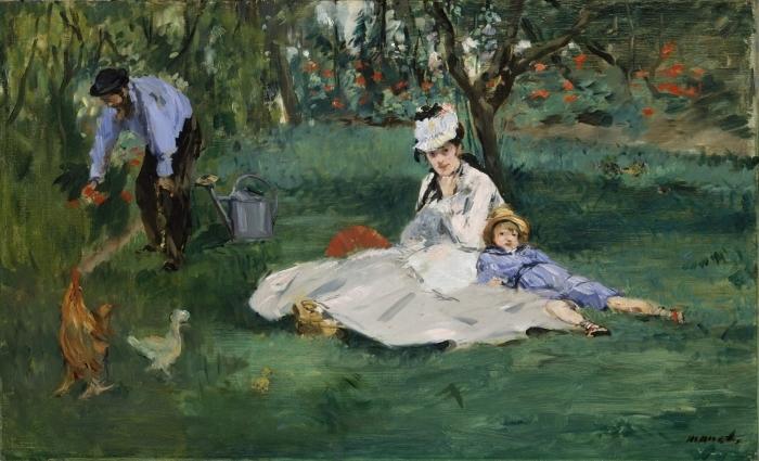 Fotomural Estándar The Monet Family in Their Garden at Argenteuil - Impresionismo