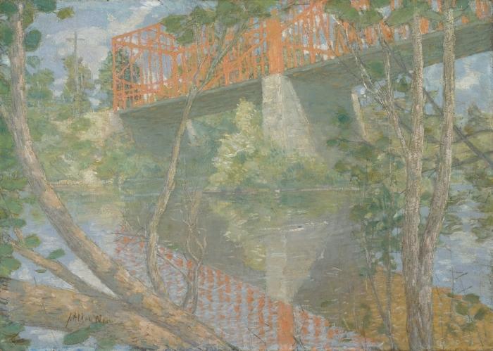 Papier peint vinyle The Red Bridge - Impressionnisme