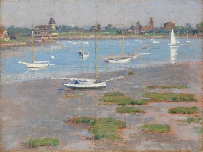 Vinyl Fotobehang Low Tide, Riverside Yacht Club - Impressionisme