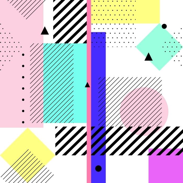 Papier peint vinyle éléments géométriques memphis -