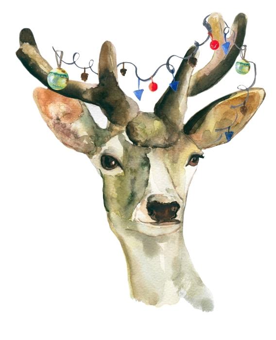 Vinylová fototapeta Jelen new-jo. Zvíře s vánoční výzdobou. Ručně malované  akvarel - f7159b6568