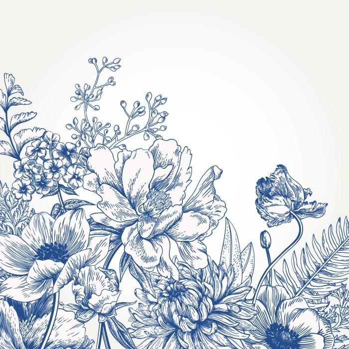 Naklejka Pixerstick niebieskie kwiaty -
