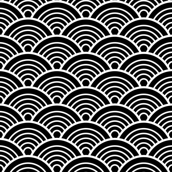 Naklejka Pixerstick Biały Czarny Tradycyjny japoński chiński Seigaiha Fala wzór tła ilustracji wektorowych -