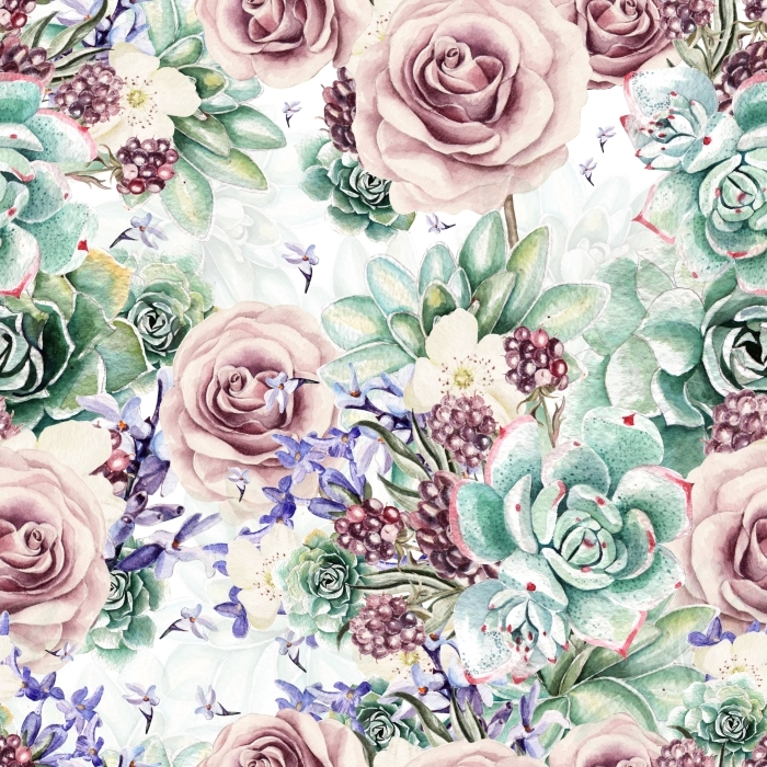Fototapeta winylowa Piękne Akwarele wzór z sukulentów i lawendy, róży. Jeżyny. ilustracje -