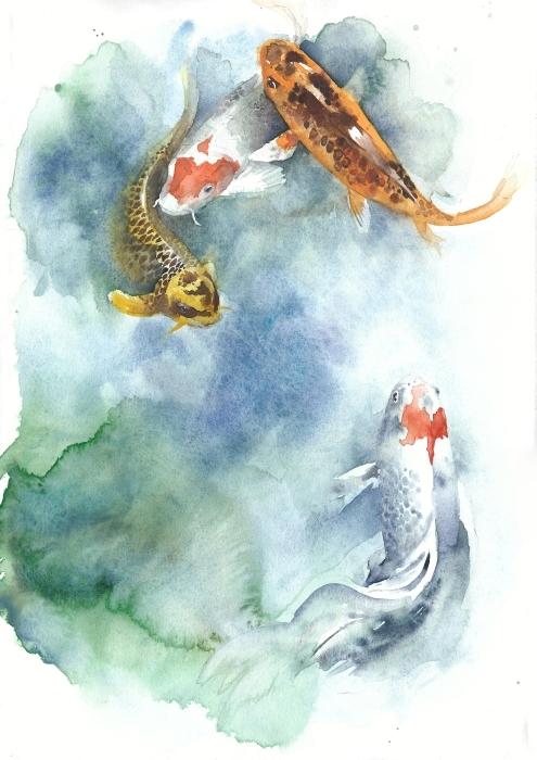 Naklejka Pixerstick Malowanie ryby odizolowane życzeniami na białym tle -
