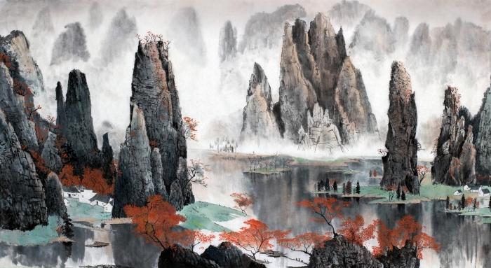 Fototapeta winylowa Chiński krajobraz gór i wody - Łono natury