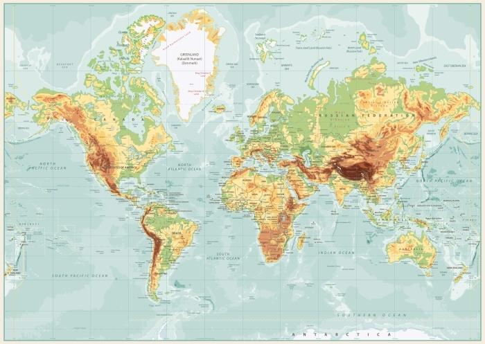 Cartina Mondiale Fisica.Carta Da Parati Mappa Fisica Mondo Pixers Viviamo Per Il Cambiamento