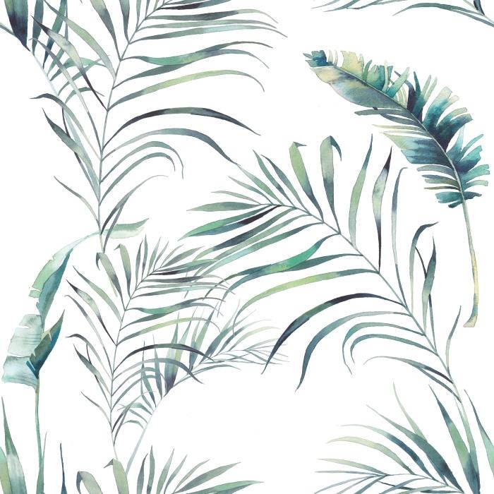Papier peint vinyle palmier d'été et des feuilles de bananier -