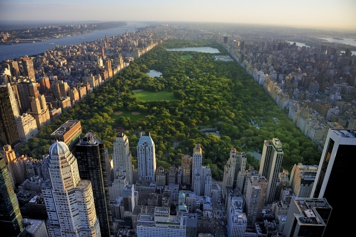 Vinilo Pixerstick Central Park vista aérea, Manhattan, Nueva York; Parque está rodeado de rascacielos - Criteo