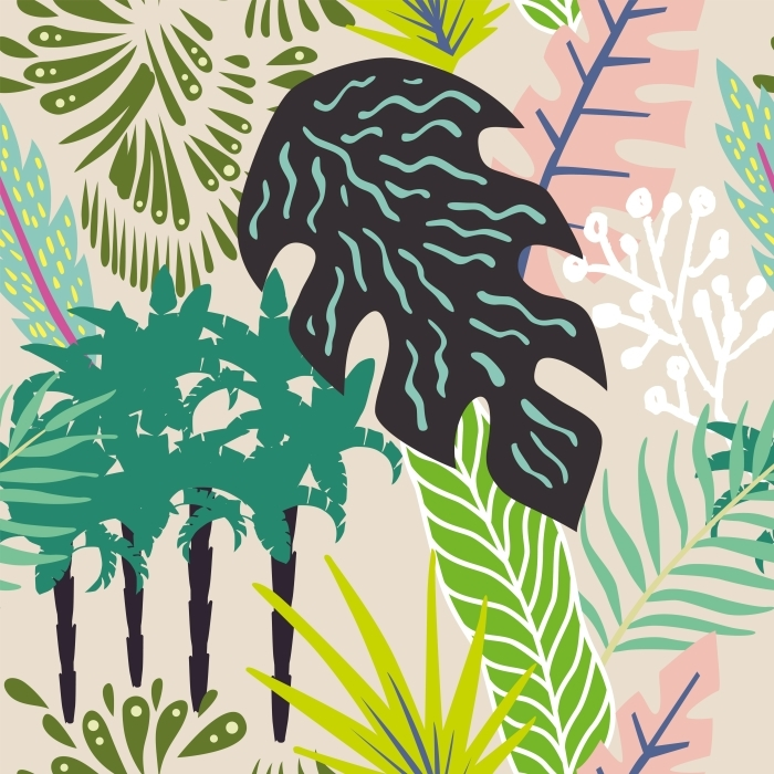 Kendinden Yapışkanlı Duvar Resmi Yaprakları ve palmiye ağaçları Özet - Yaz