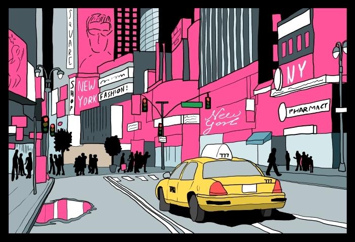 Sticker Pixerstick New York City lights - Vue de nuit de Manhattan. Taxi taxi ? Times Square. - New York