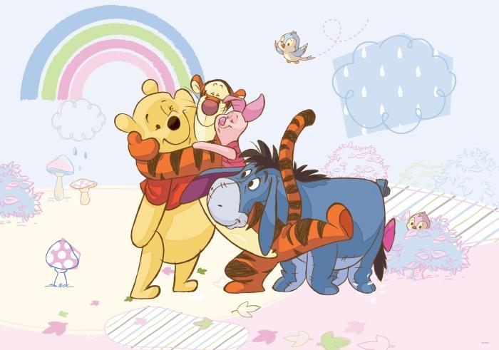 Papier peint Disney Winnie l'ourson, Bourriquet, Porcinet et Tigrou sur fond pastel - test brandowe