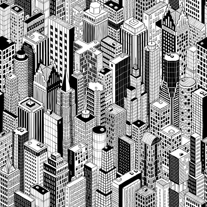 Papier peint vinyle Gratte-ciel Ville Motif continu (grand) est dessin ? la main de plusieurs bâtiments de grande hauteur comme Manhattan en perspective isométrique. Illustration est en mode vecteur eps8. - New York