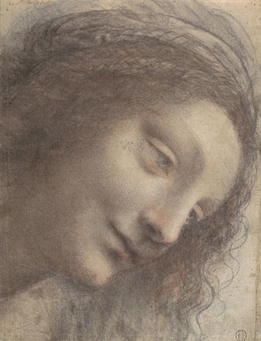 Naklejka Pixerstick Leonardo da Vinci - Głowa kobiety - Reprodukcje