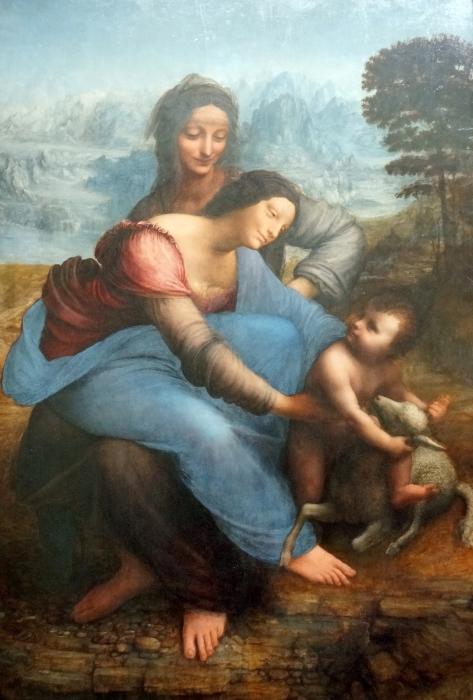 Sticker Pixerstick Léonard de Vinci - La Vierge, l'Enfant Jésus et sainte Anne - Reproductions