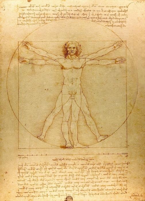 Pixerstick Aufkleber Leonardo da Vinci - Vitruvianischer Mensch - Reproduktion