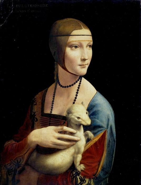 Papier peint vinyle Léonard de Vinci - La Dame à l'hermine - Reproductions