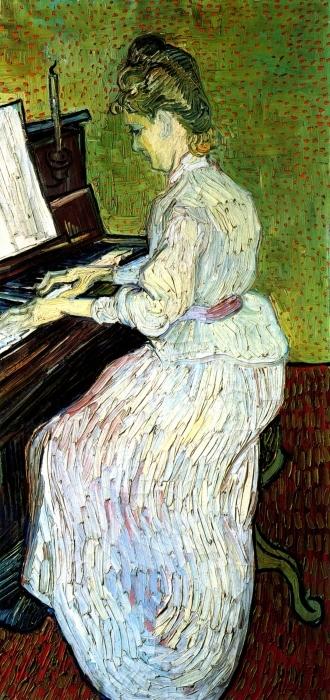 Naklejka Pixerstick Vincent van Gogh - Marguerite Gachet przy pianinie - Reproductions