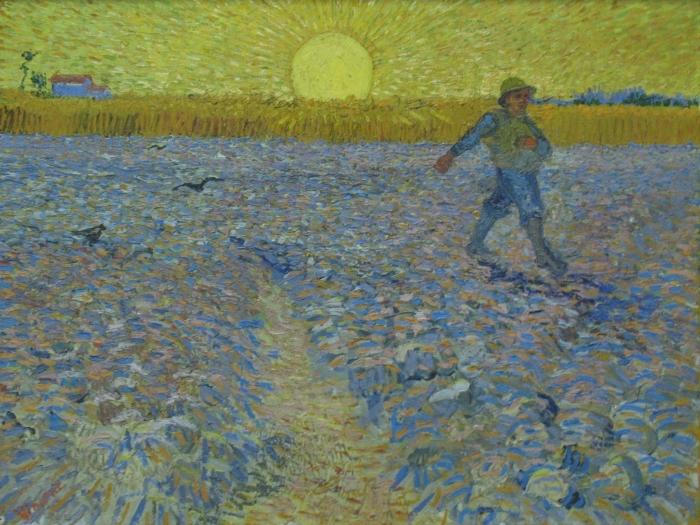 Papier peint vinyle Vincent van Gogh - Le semeur au coucher du soleil - Reproductions