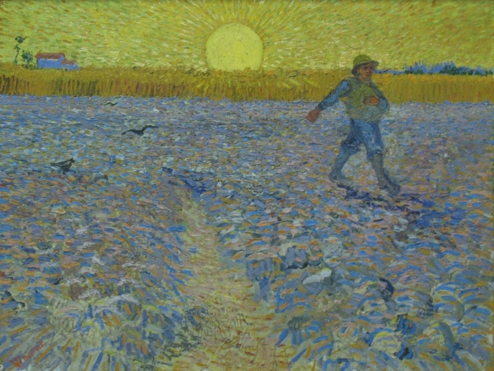 Selbstklebende Fototapete Vincent van Gogh - Sämann bei Sonnenuntergang - Reproductions