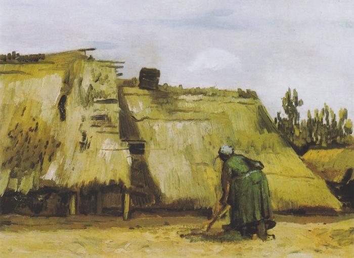 Papier peint vinyle Vincent van Gogh - Une paysanne creuser devant son chalet - Reproductions