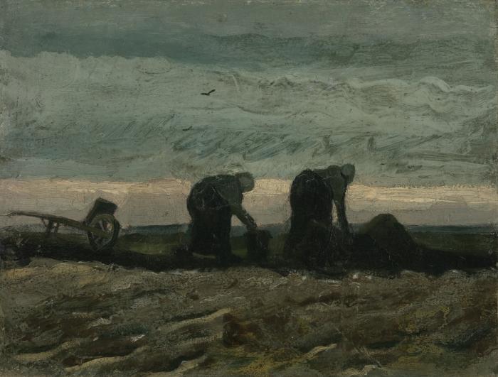 Papier peint vinyle Vincent van Gogh - Deux Paysannes ramassant la tourbe - Reproductions