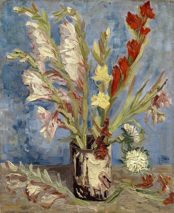 Vinilo Pixerstick Vincent van Gogh - Florero con los gladiolos y los asteres chinos - Reproductions