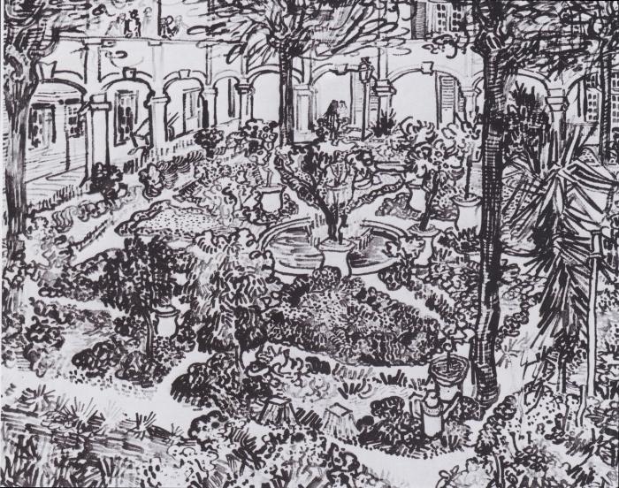 Naklejka Pixerstick Vincent van Gogh - Dziedziniec szpitala - Reproductions