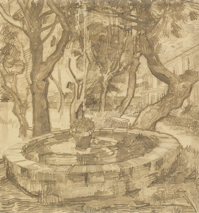 Vinil Duvar Resmi Vincent van Gogh - İltica Bahçesi'nde Çeşmesi - Reproductions