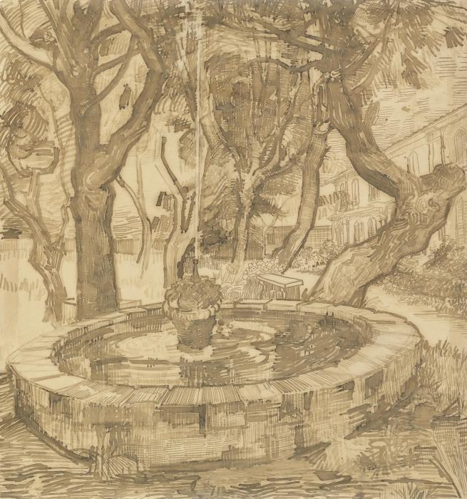 Papier peint vinyle Vincent van Gogh - Fontaine dans le jardin de l'asile - Reproductions