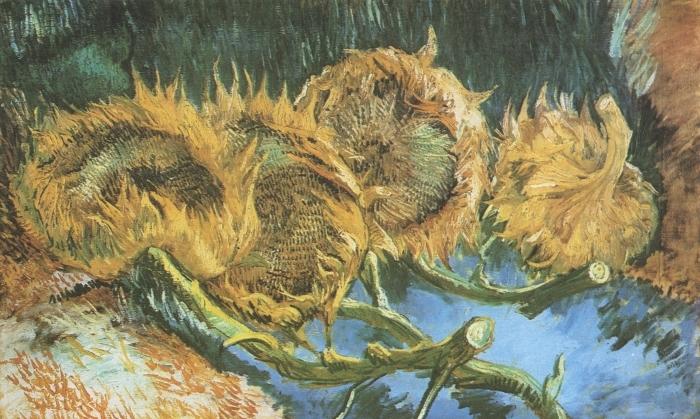 Papier peint vinyle Vincent van Gogh - Quatre tournesols coupés - Reproductions