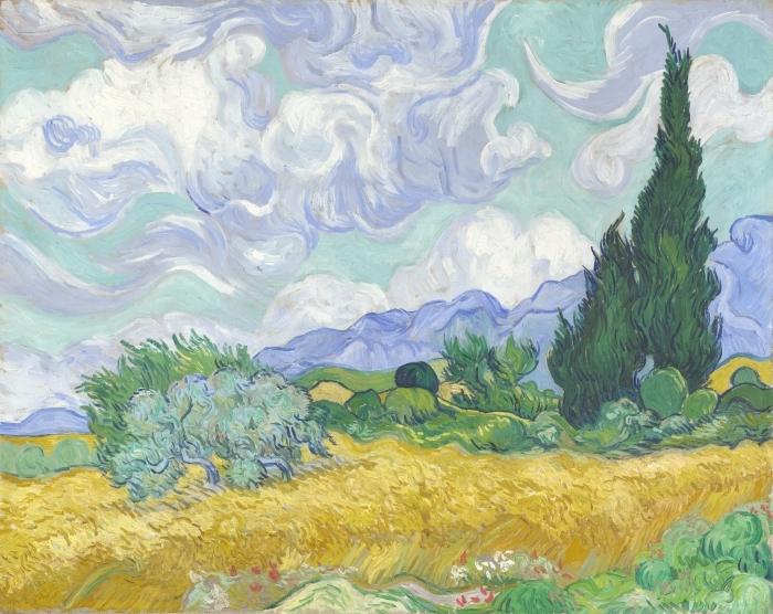 Papier peint vinyle Vincent van Gogh - Le Champ de blé vert avec cyprès - Reproductions