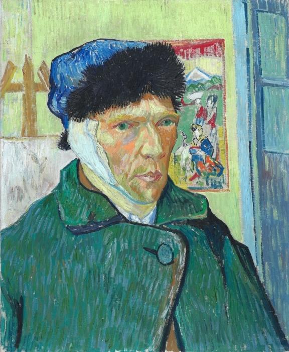Papier peint vinyle Vincent van Gogh - Autoportrait à l'oreille bandée - Reproductions