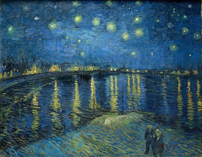 Naklejka Pixerstick Vincent van Gogh - Gwiaździsta noc nad Rodanem - Reproductions