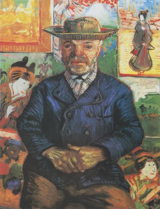 Sticker Pixerstick Vincent van Gogh - Portrait du père Tanguy - Reproductions