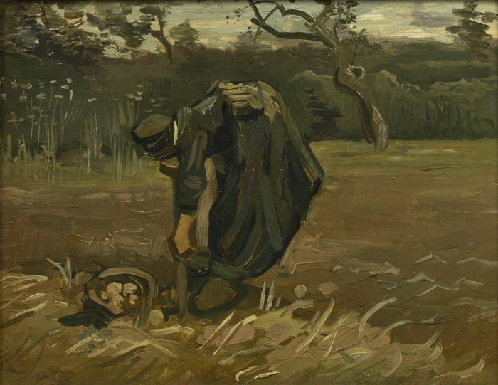 Papier peint vinyle Vincent van Gogh - Paysanne arrachant des pommes de terre - Reproductions