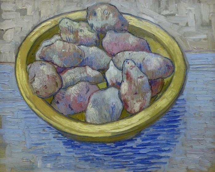 Sticker Pixerstick Vincent van Gogh - Pommes de terre dans un plat jaune - Reproductions