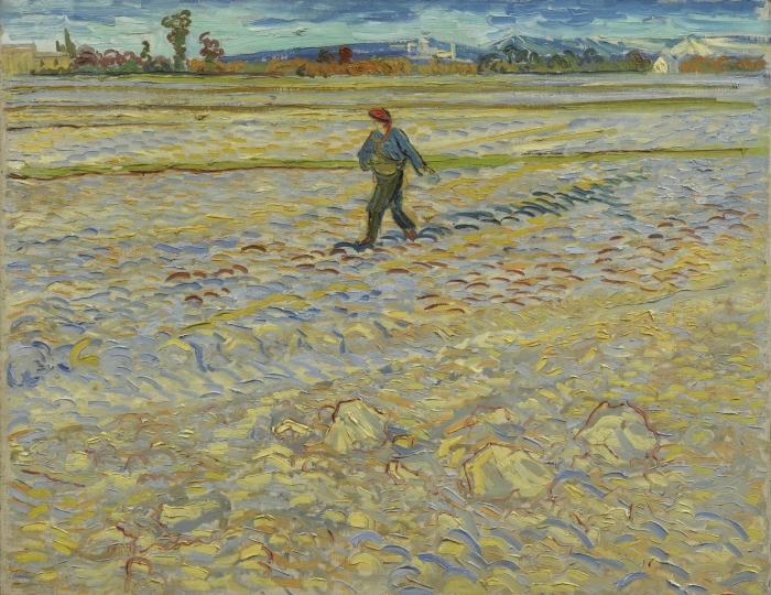 Vinilo Pixerstick Vincent van Gogh - El sembrador - Reproductions