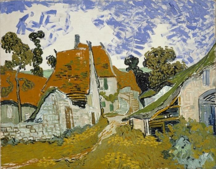 Pixerstick Aufkleber Vincent van Gogh - Dorfstraße in Auvers - Reproductions
