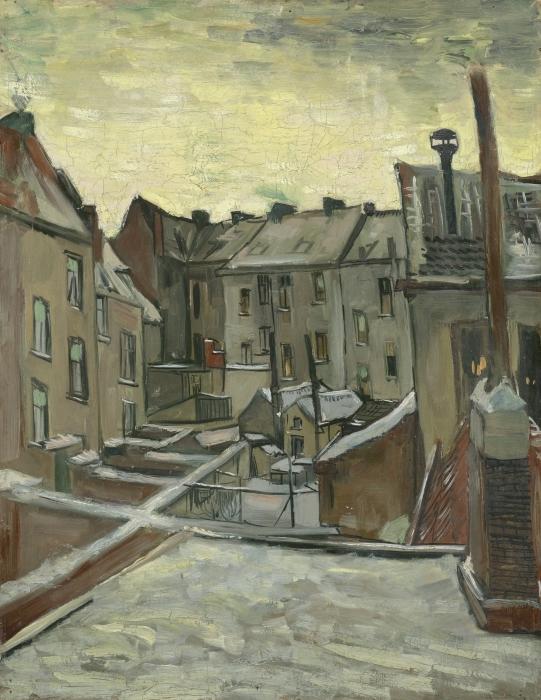 Papier peint vinyle Vincent van Gogh - Arrière-cours des maisons anciennes à Anvers dans la neige - Reproductions