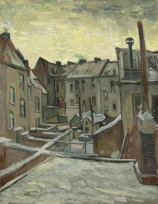 Vincent van Gogh - Backyards of Old Houses in Antwerp Vinyl Wall Mural - Reproductions