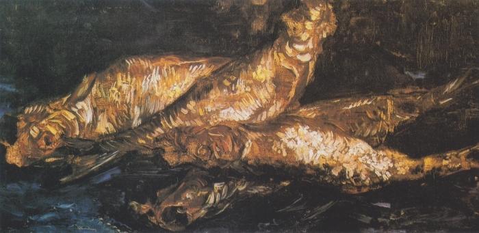 Naklejka Pixerstick Vincent van Gogh - Martwa natura z rybami - Reproductions