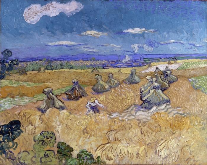 Papier peint vinyle Vincent van Gogh - Champ de blé avec Reaper - Reproductions