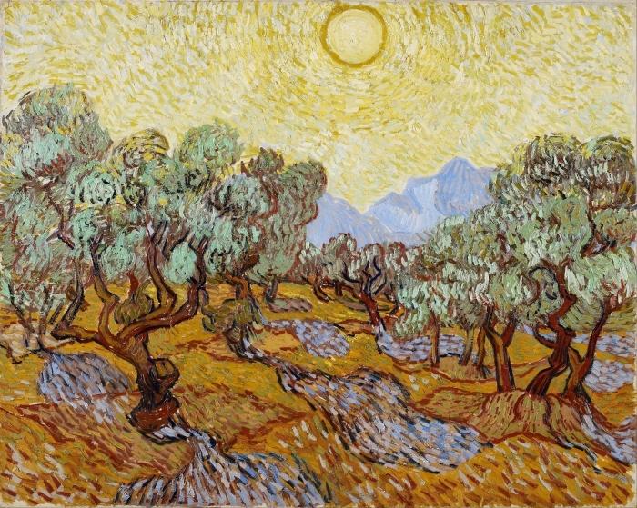 Sticker Pixerstick Vincent van Gogh - Champ d'oliviers - Reproductions