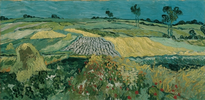 Naklejka Pixerstick Vincent van Gogh - Pola w Auvers - Reproductions