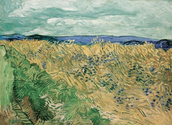 Sticker Pixerstick Vincent van Gogh - Champ de blé aux bleuets - Reproductions