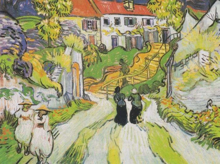 Naklejka Pixerstick Vincent van Gogh - Schody w Auvers - Reproductions